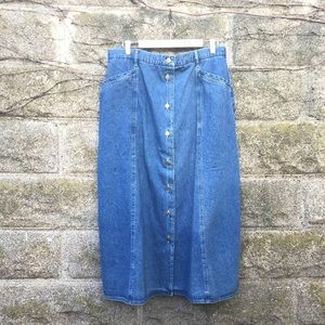 L.L. Bean Vintage Button Front Denim Maxi Skirt 20